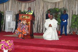 Pst Muoka praying  for the President Commander in Chief of the Armed Forces Federal Republic of Nigeria Goodluck Ebele Azikiwe